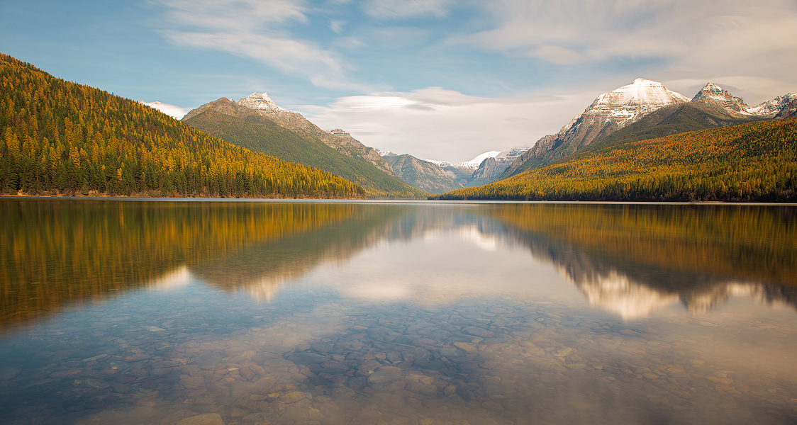 The Great Wonder, Glacier National Park, Montana, Bowman, lake, larches, mountains, autumn, fall, colors, reflection, snow, solitude, panoramic, bernard chen, timescapes, photo