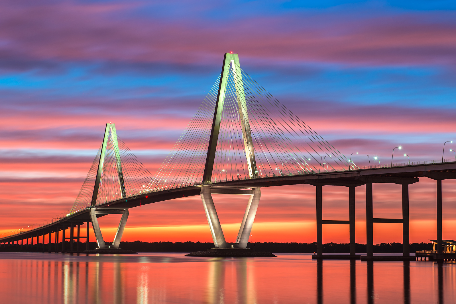 Charleston, South Carolina, Arthur Ravenel Jr. Bridge, Arthur Ravenel, Bridge, Mount Pleasant, Sunset, Dramatic Sunset, Clouds, Colorful, Low Country, Atlantic, Ocean, Marsh, Highway, photo