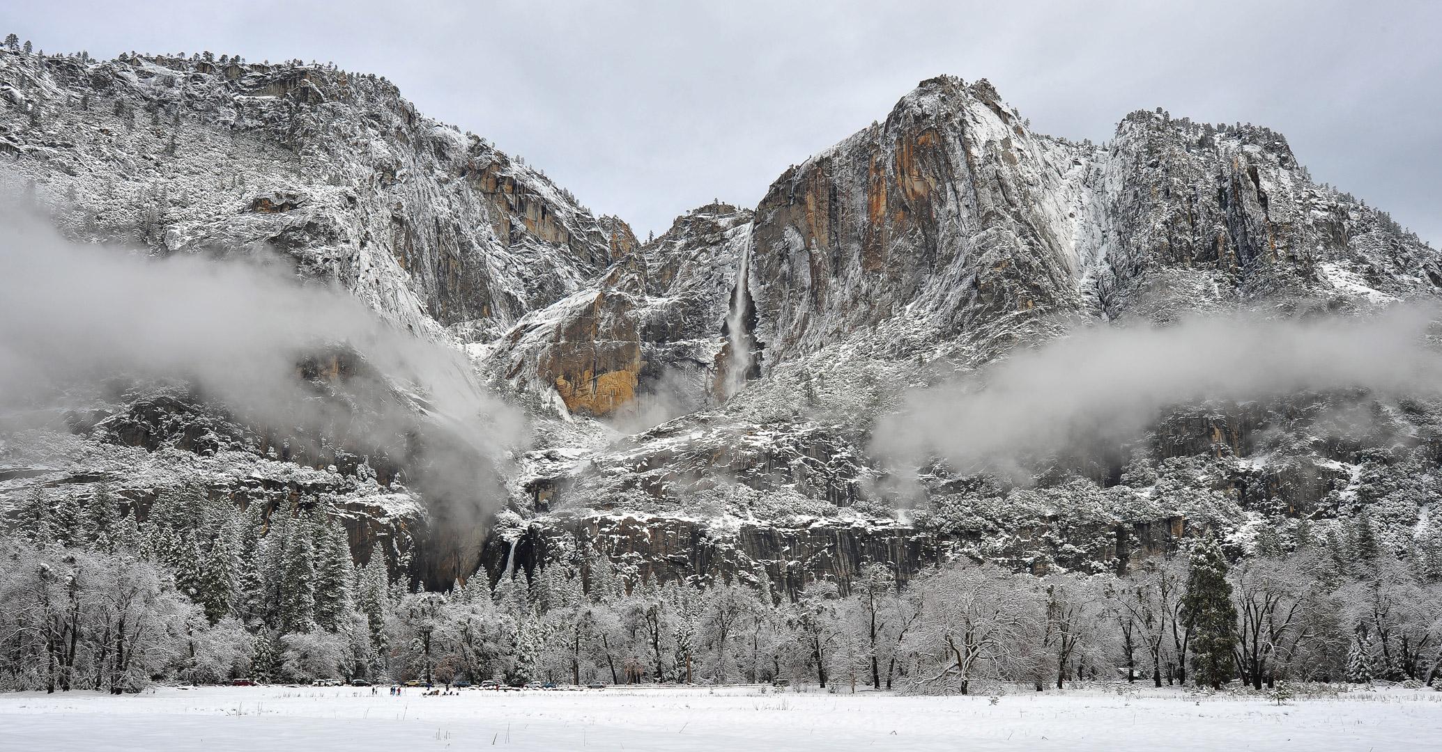 Yosemite, National Park, California, Winter, Landscape, Snow, Mountains, Waterfalls, Rivers, Vista, Iconic, Bridalveil Fall...