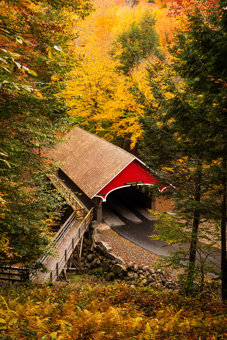 Kancamagus Highway, White Mountains, New Hampshire, Autumn, Bright, Colorful, Leaves, Fall Season, Road, Trees, Bridge, Flume Covered Bridge, photo