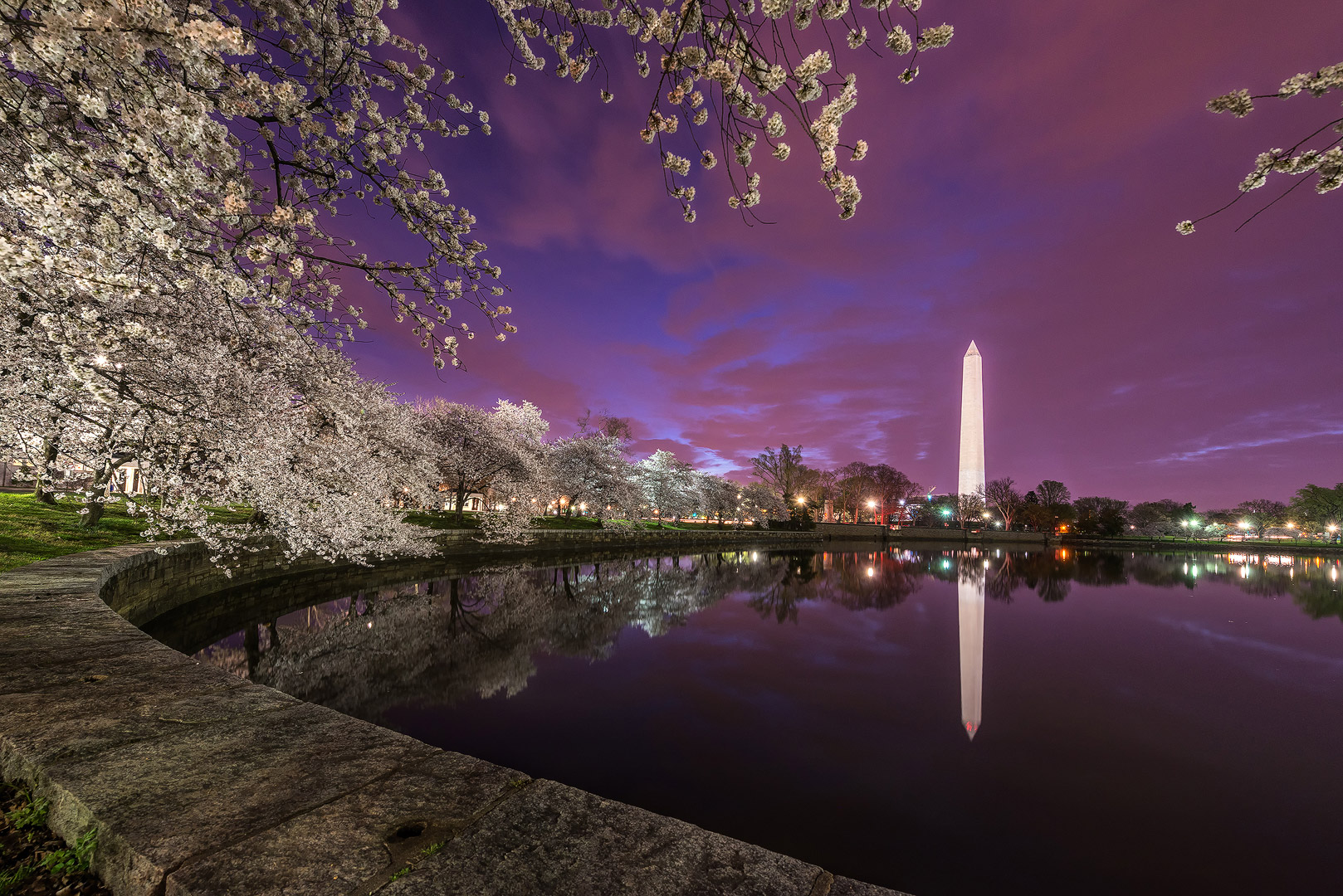 Twilight Road, Washington DC, cherry, blossoms, long exposure, monument, washington, tidal basin, bernard chen, timescapes, photo