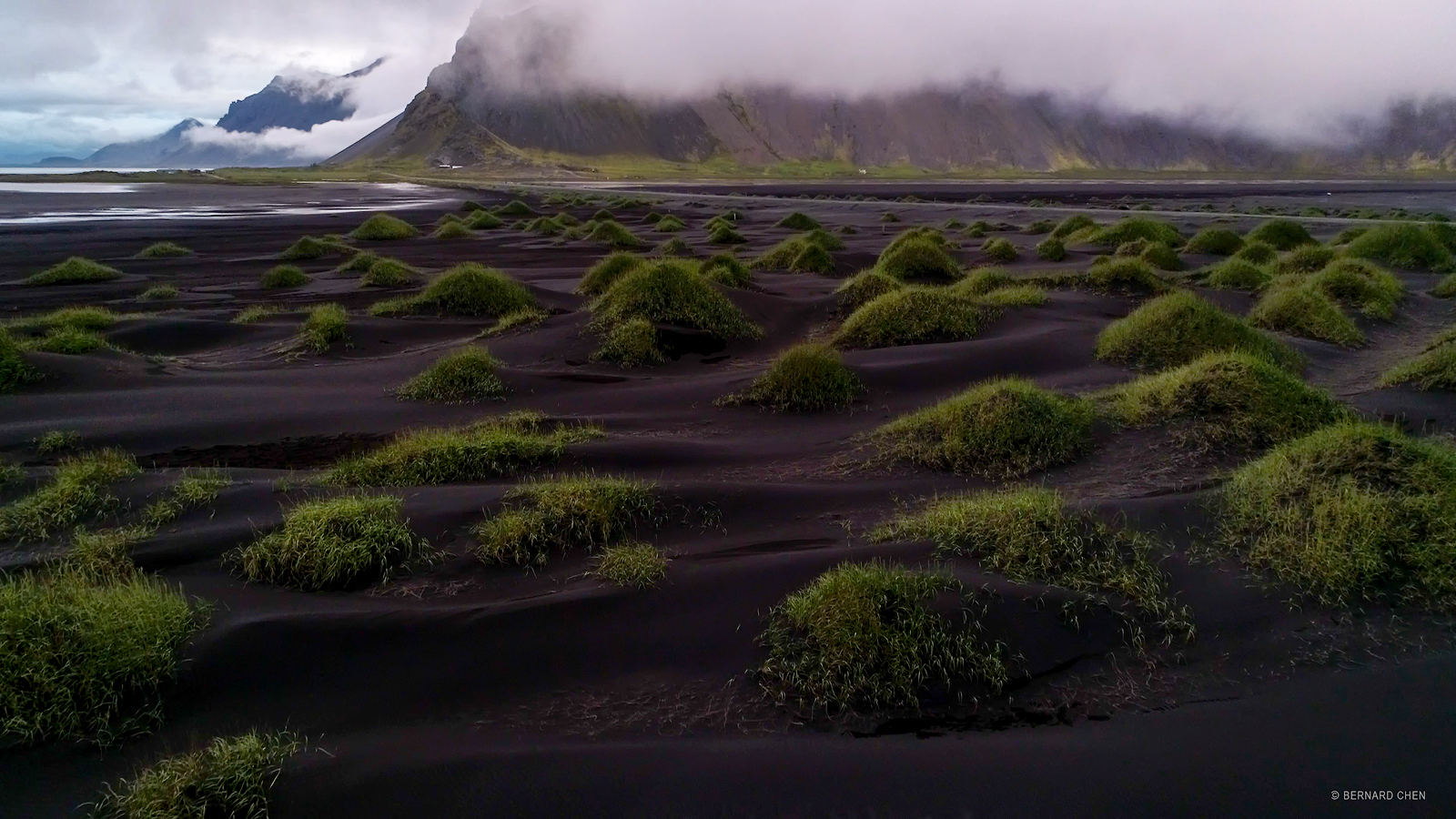 Iceland, Jokulsarlon, Vestrahorn, Ice Beach, Iceberg, Black Sand, Waves, Motion, Water Motion, Sunset, Cloudy, Bernard Chen...