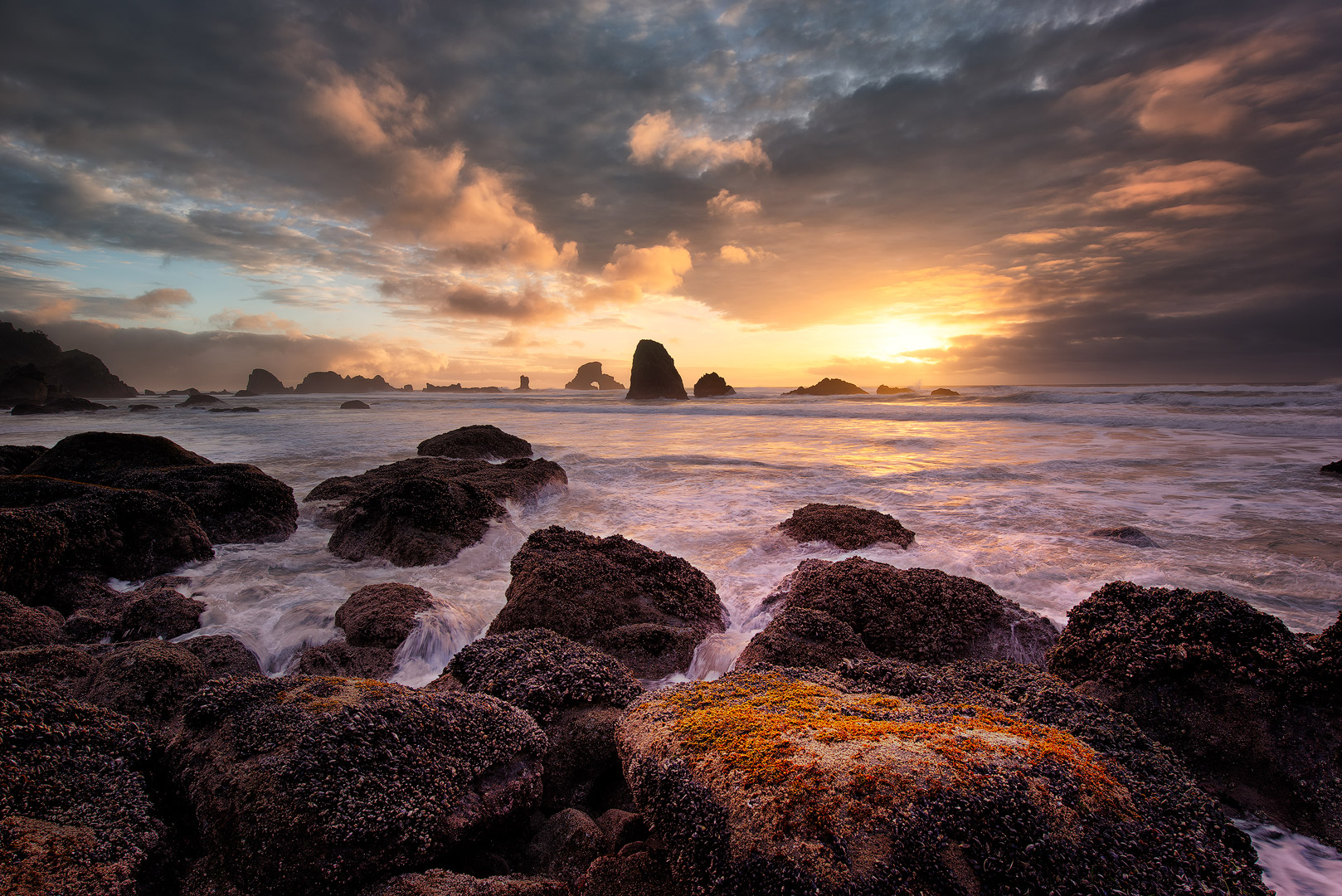 When Skies Speak, Indian Beach, Oregon, sunset, rocky, coastline, ocean, pacific ocean, bernard chen, timescapes, photo