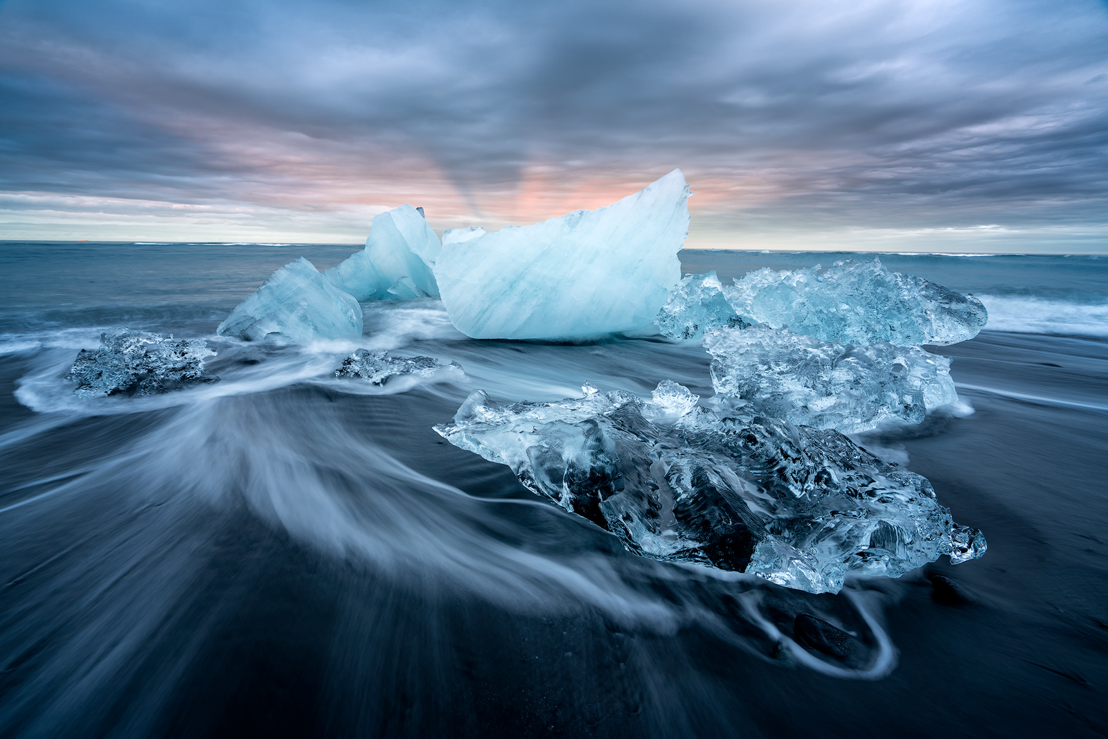 Iceland, Jokulsarlon, Ice Beach, Iceberg, Black Sand, Waves, Motion, Water Motion, Sunset, Cloudy, Bernard Chen, Timescapes, photo
